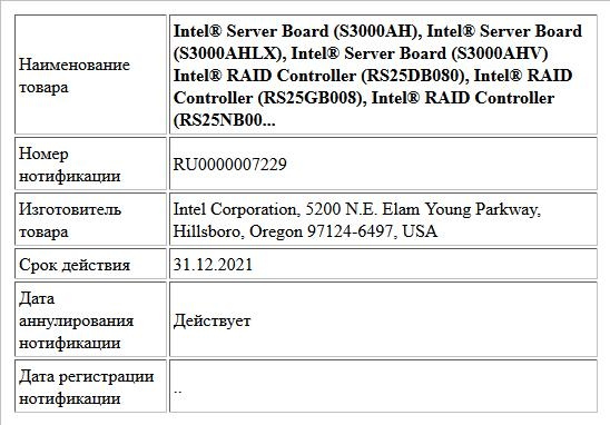Intel® Server Board (S3000AH), Intel® Server Board (S3000AHLX), Intel® Server Board (S3000AHV)  Intel® RAID Controller (RS25DB080), Intel® RAID Controller (RS25GB008), Intel® RAID Controller (RS25NB00...