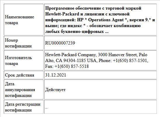 Программное обеспечение с торговой маркой Hewlett-Packard и лицензии с ключевой информацией:  HP * Operations Agent *, версии 9.* и выше;  где индекс * - обозначает комбинацию любых буквенно-цифровых ...