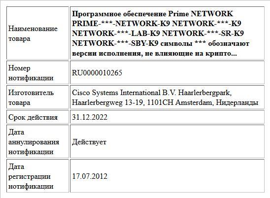 Программное обеспечение Prime  NETWORK  PRIME-***-NETWORK-K9  NETWORK-***-K9  NETWORK-***-LAB-K9  NETWORK-***-SR-K9  NETWORK-***-SBY-K9  символы *** обозначают версии исполнения, не влияющие на крипто...
