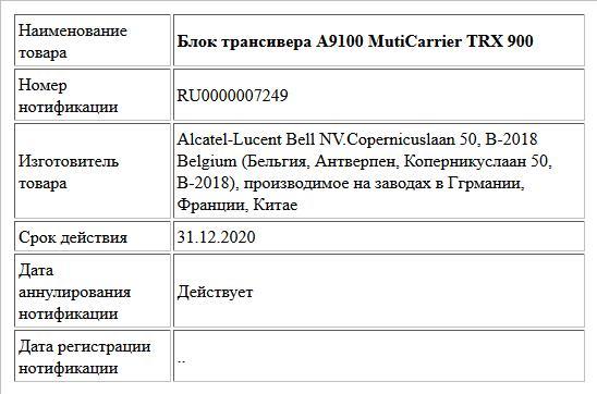 Блок трансивера А9100 MutiCarrier TRX 900