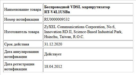 Беспроводной VDSL маршрутизатор RT-V4L1USBn