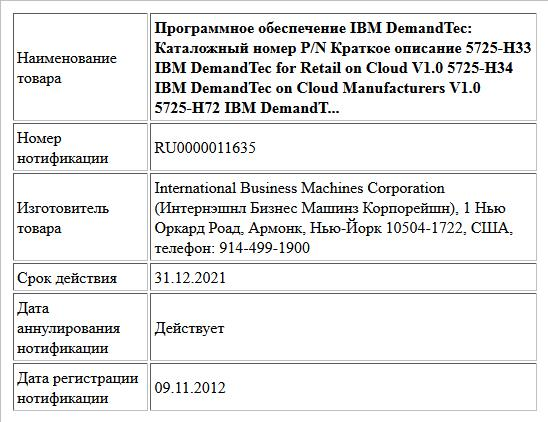 Программное обеспечение IBM DemandTec:  Каталожный номер P/N Краткое описание  5725-H33 IBM DemandTec for Retail on Cloud V1.0  5725-H34 IBM DemandTec on Cloud Manufacturers V1.0  5725-H72 IBM DemandT...