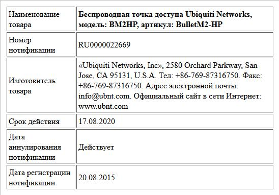 Беспроводная точка доступа Ubiquiti Networks, модель: BM2HP, артикул: BulletM2-HP