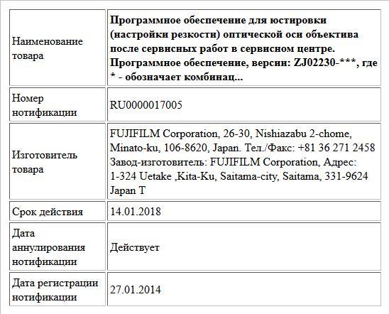 Программное обеспечение для юстировки (настройки резкости)  оптической оси объектива после сервисных работ в сервисном центре. Программное обеспечение, версии: ZJ02230-***, где * - обозначает комбинац...