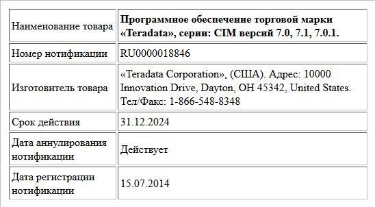 Программное обеспечение торговой марки «Teradata», серии:  CIM версий 7.0, 7.1, 7.0.1.