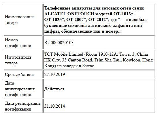 Телефонные аппараты для сотовых сетей связи ALCATEL ONETOUCH моделей ОТ-1013*, ОТ-1035*, ОТ-2007*, ОТ-2012*, где * – это любые буквенные символы латинского алфавита или цифры, обозначающие тип и номер...