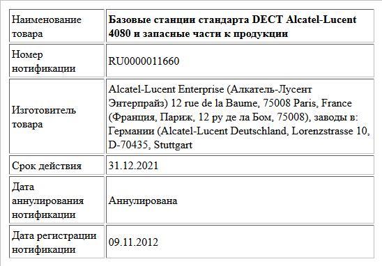 Базовые станции стандарта DECT Alcatel-Lucent 4080 и запасные части к продукции