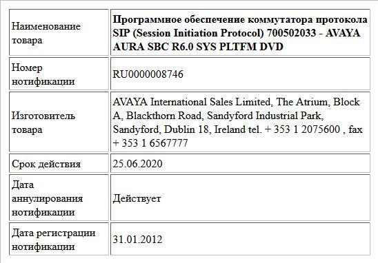 Программное обеспечение коммутатора протокола SIP (Session Initiation Protocol)  700502033 - AVAYA AURA SBC R6.0 SYS PLTFM DVD