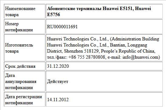 Абонентские терминалы Huawei Е5151, Huawei Е5756