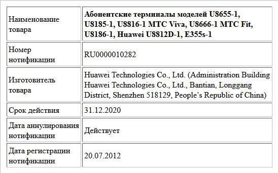 Абонентские терминалы моделей U8655-1, U8185-1, U8816-1 MTC Viva, U8666-1 MTC Fit, U8186-1, Huawei U8812D-1, E355s-1