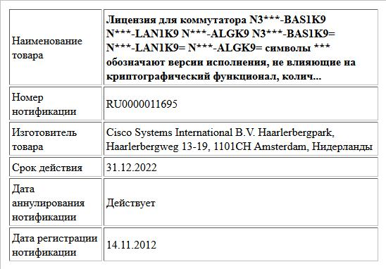 Лицензия для коммутатора   N3***-BAS1K9  N***-LAN1K9  N***-ALGK9  N3***-BAS1K9=  N***-LAN1K9=  N***-ALGK9=  символы *** обозначают версии исполнения, не влияющие на криптографический функционал, колич...