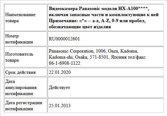 Видеокамера Panasonic модели HX-A100****,  включая запасные части и комплектующие к ней Примечание: «*» -- a-z, A-Z, 0-9 или пробел, обозначающие цвет изделия