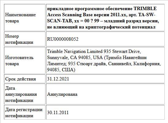 прикладное программное обеспечение   TRIMBLE Access Scanning Base версии 2011.xx,   арт. TA-SW-SCAN-TAB,   xx = 00 ? 99 – младший разряд версии, не влияющий на криптографический потенциал