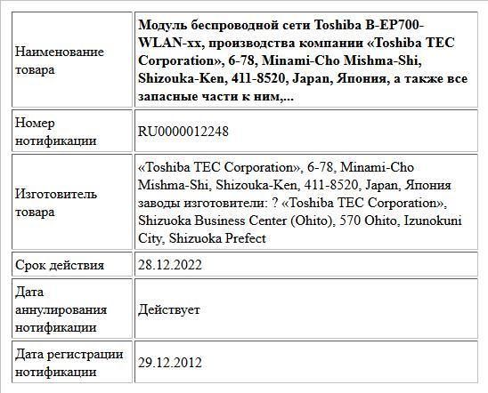 Модуль беспроводной сети Toshiba B-EP700-WLAN-xx, производства компании «Toshiba TEC Corporation», 6-78, Minami-Cho Mishma-Shi, Shizouka-Ken, 411-8520, Japan, Япония, а также все запасные части к ним,...