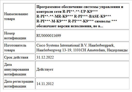 Программное обеспечение системы управления   и контроля сети  R-PI**-**-UP-K9***  R-PI**-**-MR-K9***  R-PI***-BASE-K9***  R-PI***-M-K9***  R-PI***-K9***  символы *** обозначают версии исполнения, не в...