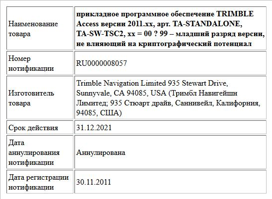 прикладное программное обеспечение   TRIMBLE Access версии 2011.xx,   арт. TA-STANDALONE, TA-SW-TSC2,   xx = 00 ? 99 – младший разряд версии, не влияющий на криптографический потенциал