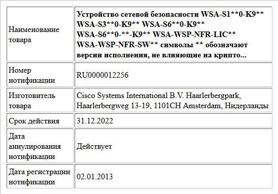 Устройство сетевой безопасности   WSA-S1**0-K9**  WSA-S3**0-K9**  WSA-S6**0-K9**  WSA-S6**0-**-K9**  WSA-WSP-NFR-LIC**  WSA-WSP-NFR-SW**  символы ** обозначают версии исполнения, не влияющие на крипто...