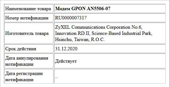 Модем GPON AN5506-07