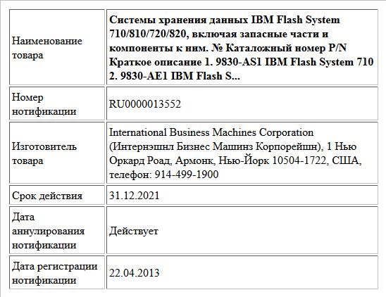Системы хранения данных IBM Flash System 710/810/720/820, включая запасные части и компоненты к ним.  № Каталожный номер P/N Краткое описание  1. 9830-AS1 IBM Flash System 710  2. 9830-AE1 IBM Flash S...