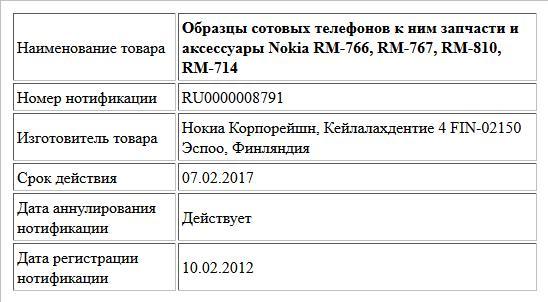Образцы сотовых телефонов к ним запчасти и аксессуары Nokia RM-766, RM-767, RM-810, RM-714