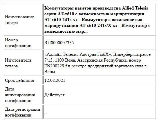 Коммутаторы пакетов производства Allied Telesis серии AT-x610 c возможностью маршрутизации  AT-x610-24Ts-xx - Коммутатор с возможностью маршрутизации  AT-x610-24Ts/X-xx - Коммутатор с возможностью мар...
