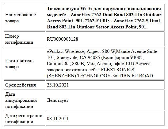 Точки доступа Wi-Fi для наружного   использования моделей:   - ZoneFlex 7762 Dual Band 802.11n Outdoor Access Point, 901-7762-EU01;  - ZoneFlex 7762-S Dual Band 802.11n Outdoor Sector Access Point, 90...