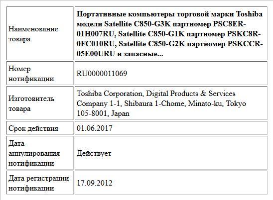 Портативные компьютеры торговой марки Toshiba модели Satellite C850-G3K партномер PSC8ER-01H007RU, Satellite C850-G1K партномер PSKC8R-0FC010RU, Satellite C850-G2K партномер PSKCCR-05E00URU и запасные...