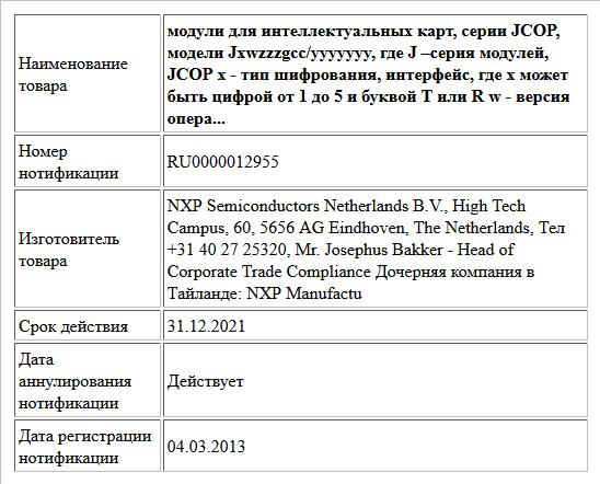 модули для интеллектуальных карт, серии JCOP, модели Jxwzzzgcc/yyyyyyy, где J –серия модулей, JCOP x - тип шифрования, интерфейс, где x может быть цифрой от 1 до 5 и буквой Т или R w - версия опера...
