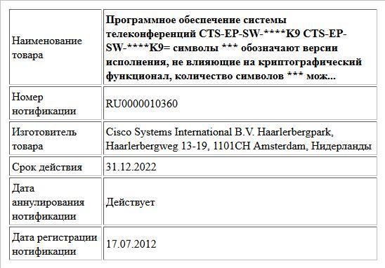 Программное обеспечение системы телеконференций  CTS-EP-SW-****K9  CTS-EP-SW-****K9=  символы *** обозначают версии исполнения, не влияющие на криптографический функционал, количество символов *** мож...
