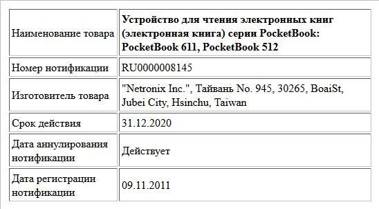 Устройство для чтения электронных книг (электронная книга) серии PocketBook: PocketBook 611, PocketBook 512