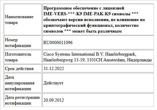 Программное обеспечение с лицензией  IME-VERS-***-K9  IME-PAK-K9  символы *** обозначают версии исполнения, не влияющие на криптографический   функционал, количество символов *** может быть различным