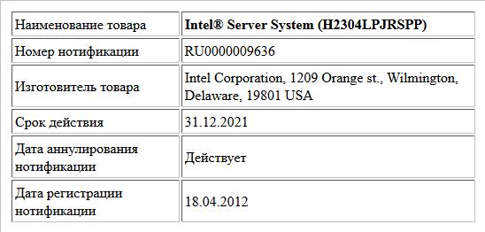 Intel® Server System (H2304LPJRSPP)
