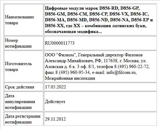 Цифровые модули марок D856-RD,  D856-GP, D856-GM, D856-CM, D856-CP, D856-VX, D856-IC, D856-MA, D856-MD,  D856-ND, D856-NA, D856-EP и D856-XX, где XX – комбинация латинских букв,  обозначающая модифика...