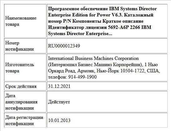 Программное обеспечение IBM Systems Director Enterprise Edition for Power V6.3. Каталожный номер P/N Компоненты Краткое описание Идентификатор лицензии 5692-A6P 2266 IBM Systems Director Enterprise...