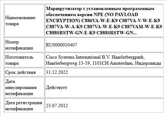 Маршрутизатор с установленным программным обеспечением версии NPE (NO PAYLOAD ENCRYPTION)  C886VA-W-E-K9  C887VA-V-W-E-K9  C887VA-W-A-K9  C887VA-W-E-K9  C887VAM-W-E-K9  C888SRSTW-GN-E-K9  C888SRSTW-GN...