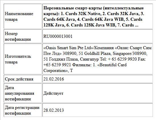 Персональные смарт-карты (интеллектуальные  карты):   1. Cards 32K Native,  2. Cards 32K Java,   3. Cards 64K Java,   4. Cards 64K Java WIB,   5. Cards 128K Java,   6. Cards 128K Java WIB,   7. Cards ...