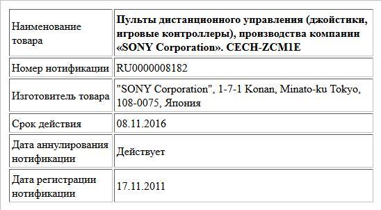 Пульты дистанционного управления (джойстики, игровые контроллеры), производства компании «SONY Corporation».  CECH-ZCM1E