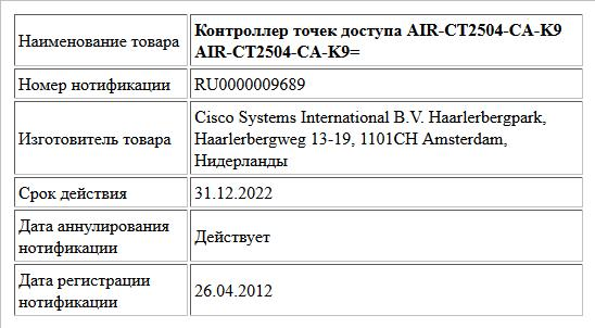 Контроллер точек доступа  AIR-CT2504-CA-K9  AIR-CT2504-CA-K9=