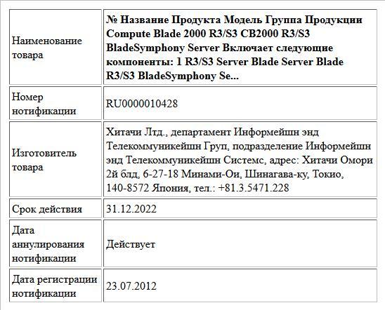 № Название Продукта Модель Группа Продукции   Compute Blade 2000 R3/S3  CB2000 R3/S3 BladeSymphony Server     Включает следующие компоненты:    1 R3/S3 Server Blade Server Blade R3/S3 BladeSymphony Se...