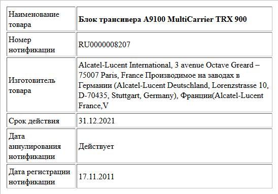 Блок трансивера А9100 MultiCarrier TRX 900