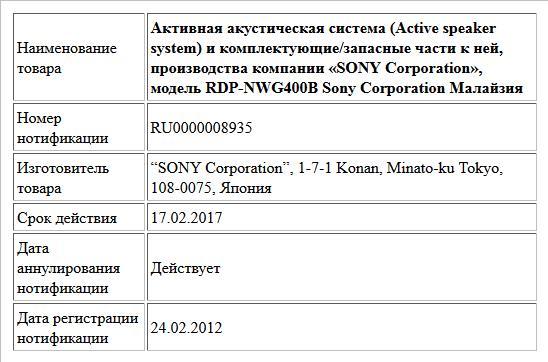 Активная акустическая система (Active speaker system) и комплектующие/запасные части к ней, производства компании   «SONY Corporation», модель RDP-NWG400B Sony Corporation Малайзия