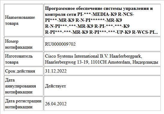 Программное обеспечение системы управления и контроля сети  PI-***-MEDIA-K9  R-NCS-PI***-MR-K9  R-N-PI******-MR-K9  R-N-PI***-***-MR-K9  R-PI-***-***-K9  R-PI***-***-MR-K9  R-PI***-***-UP-K9  R-WCS-PI...