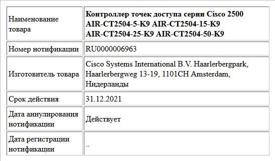 Контроллер точек доступа серии Cisco 2500 AIR-CT2504-5-K9 AIR-CT2504-15-K9 AIR-CT2504-25-K9 AIR-CT2504-50-K9