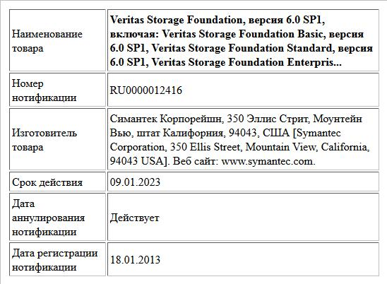 Veritas Storage Foundation, версия 6.0 SP1,   включая:   Veritas Storage Foundation Basic, версия 6.0 SP1,   Veritas Storage Foundation Standard, версия 6.0 SP1,   Veritas Storage Foundation Enterpris...