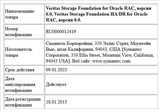 Veritas Storage Foundation for Oracle RAC, версия 6.0,  Veritas Storage Foundation HA/DR for Oracle RAC, версия 6.0.