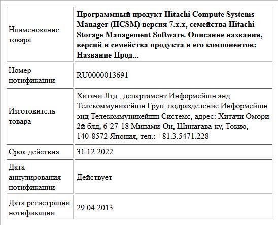 Программный продукт Hitachi Compute Systems Manager (HCSM) версия 7.x.x, семейства Hitachi Storage Management Software. Описание названия, версий и семейства продукта и его компонентов: Название Прод...