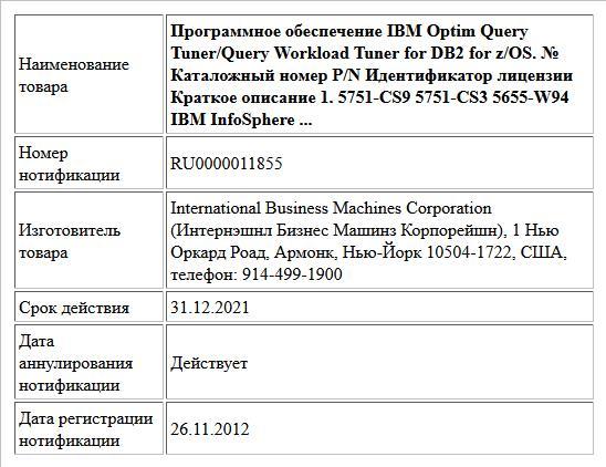 Программное обеспечение IBM Optim Query Tuner/Query Workload Tuner for DB2 for z/OS. № Каталожный номер P/N Идентификатор лицензии Краткое описание 1. 5751-CS9     5751-CS3 5655-W94 IBM InfoSphere ...