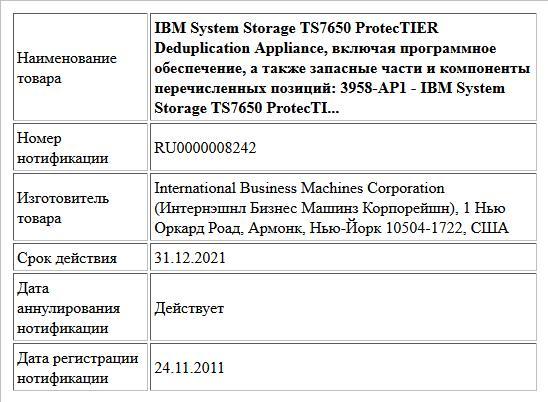 IBM System Storage TS7650 ProtecTIER Deduplication Appliance, включая программное обеспечение, а также запасные части и компоненты перечисленных позиций:  3958-AP1 - IBM System Storage TS7650 ProtecTI...