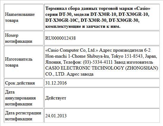 Терминал сбора данных торговой марки «Casio» серии DT-30, модели  DT-X30R-10, DT-X30GR-10, DT-X30GR-10C, DT-X30R-30, DT-X30GR-30, комплектующие и запчасти к ним.
