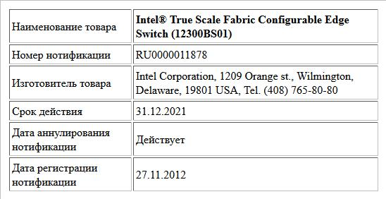 Intel® True Scale Fabric Configurable Edge Switch (12300BS01)